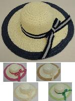 Ladies Woven Summer Hat [Striped Bow/Colored Trim]